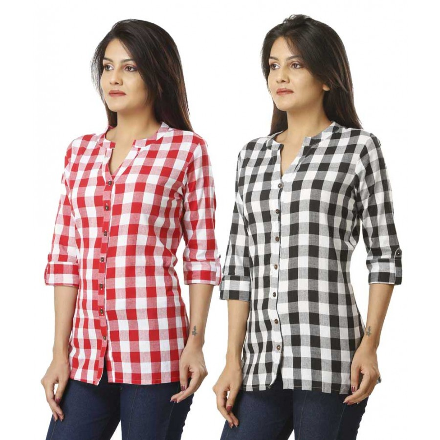 ASMANII COMBO PACK OF 2  PINK BLACK COTTON CHECK SHIRTS JAIPUR