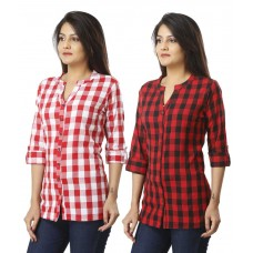 ASMANII COMBO PACK OF 2 PINK RED COTTON CHECK SHIRTS JAIPUR