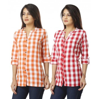 ASMANII COMBO PACK OF 2 ORANGE PINK COTTON CHECK SHIRTS JAIPUR