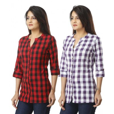 ASMANII COMBO PACK OF 2 RED PURPLE  COTTON CHECK SHIRTS JAIPUR