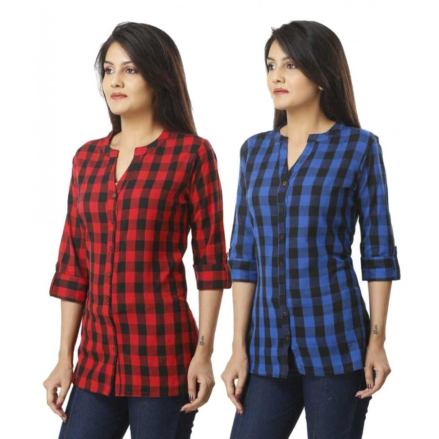 ASMANII COMBO PACK OF 2 BLUE RED COTTON CHECK SHIRTS JAIPUR