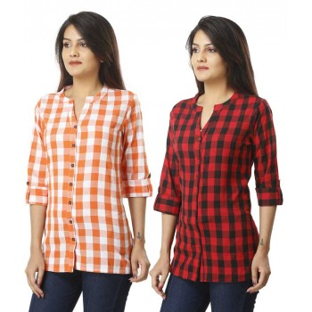 ASMANII COMBO PACK OF 2 ORANGE RED COTTON CHECK SHIRTS JAIPUR
