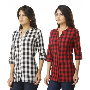 ASMANII COMBO PACK OF 2 BLACK & RED COTTON CHECK SHIRTS JAIPUR