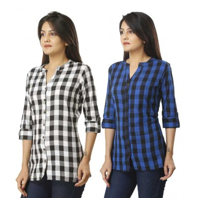 ASMANII COMBO PACK OF 2 BLACK & BLUE COTTON CHECK SHIRTS JAIPUR