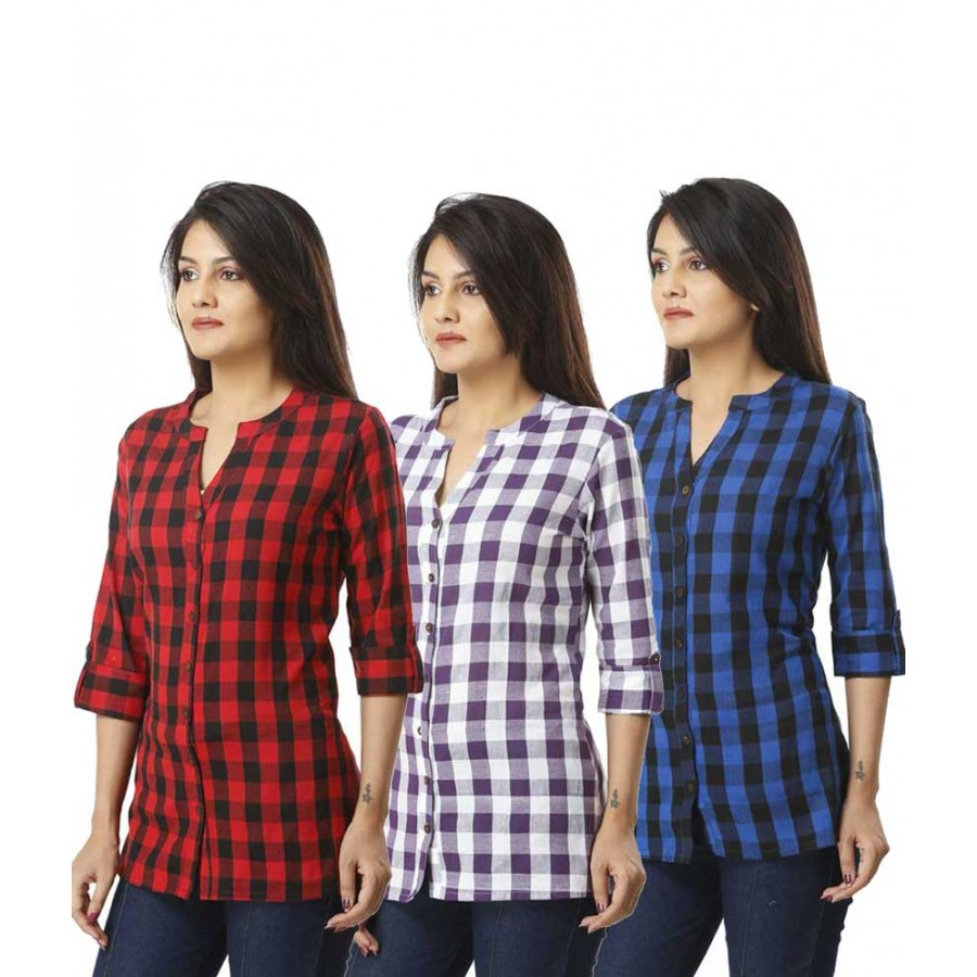 ASMANII COMBO PACK OF 3 RED PURPLE & BLUE COTTON CHECK SHIRTS JAIPUR