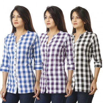 ASMANII COMBO PACK OF 3 LIGHT BLUE PURPLE & BLACK COTTON CHECK SHIRTS JAIPUR