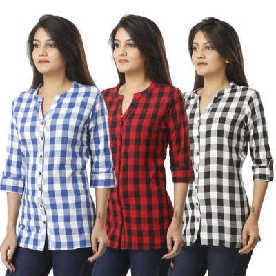 ASMANII COMBO PACK OF 3 LIGHT BLUE RED & BLACK COTTON CHECK SHIRTS JAIPUR