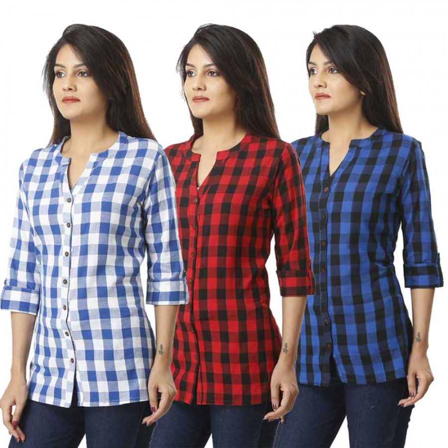 ASMANII COMBO PACK OF 3 LIGHT BLUE RED & BLUE COTTON CHECK SHIRTS JAIPUR