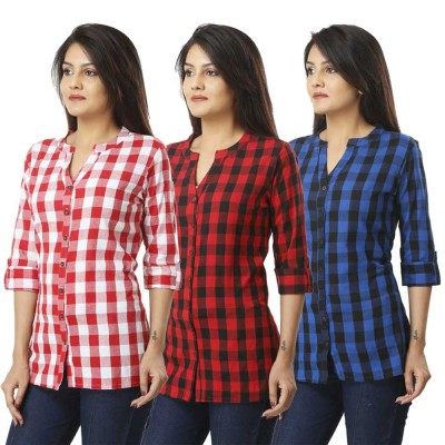 ASMANII COMBO PACK OF 3 PINK RED & BLUE COTTON CHECK SHIRTS JAIPUR