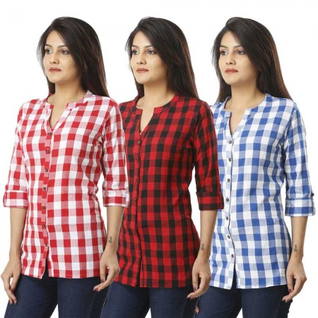 ASMANII COMBO PACK OF 3 PINK RED & LIGHT BLUE COTTON CHECK SHIRTS JAIPUR
