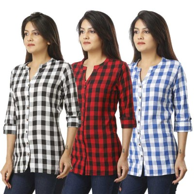 ASMANII COMBO PACK OF 3 BLACK RED & LIGHT BLUE COTTON CHECK SHIRTS JAIPUR
