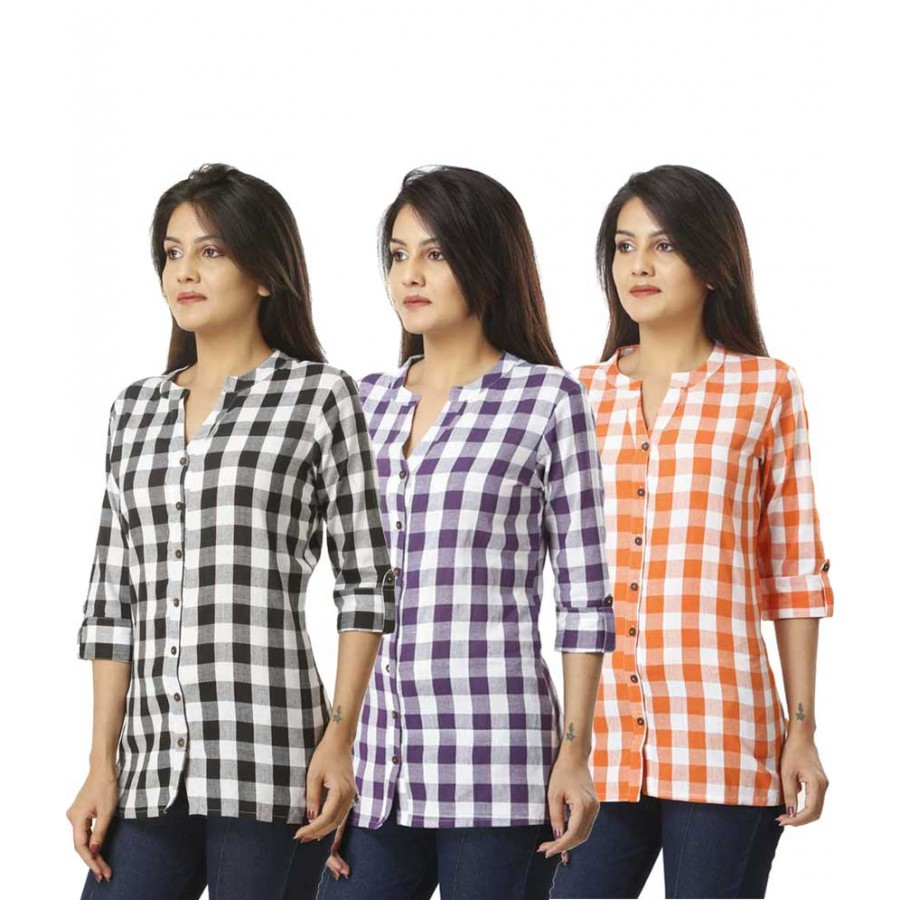 ASMANII COMBO PACK OF 3 BLACK  PURPLE ORANGE COTTON CHECK SHIRTS JAIPUR