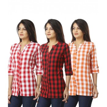 ASMANII COMBO PACK OF 3 PINK RED & ORANGE COTTON CHECK SHIRTS JAIPUR
