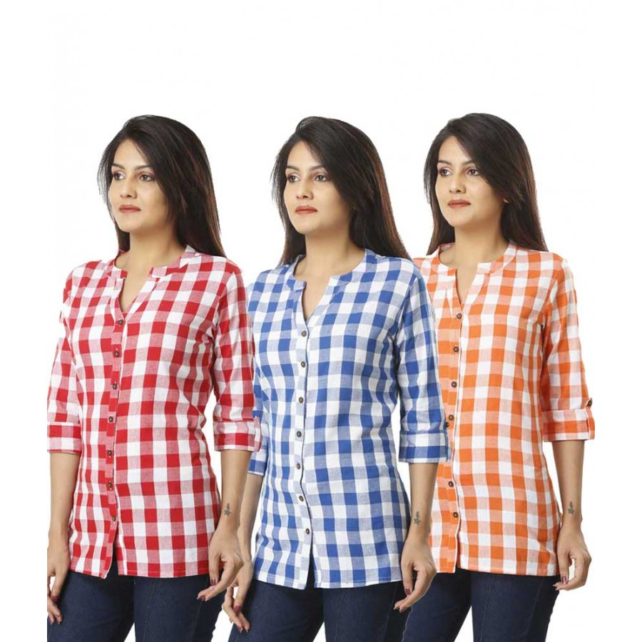 ASMANII COMBO PACK OF 3 PINK LIGHT BLUE & ORANGE COTTON CHECK SHIRTS JAIPUR
