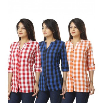 ASMANII COMBO PACK OF 3 PINK BLUE & ORANGE COTTON CHECK SHIRTS JAIPUR