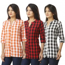 ASMANII COMBO PACK OF 3 ORANGE RED & BLACK COTTON CHECK SHIRTS JAIPUR