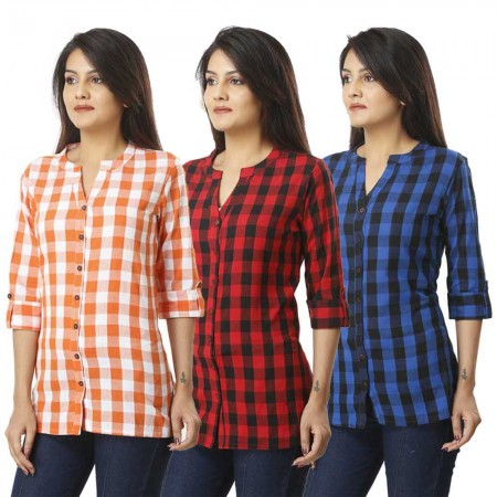 ASMANII COMBO PACK OF 3 ORANGE RED  & BLUE COTTON CHECK SHIRTS JAIPUR