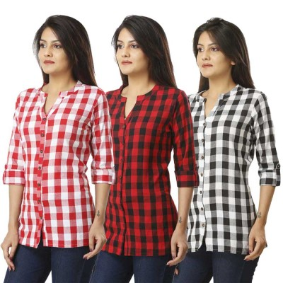 ASMANII COMBO PACK OF 3 PINK RED & BLACK COTTON CHECK SHIRTS JAIPUR