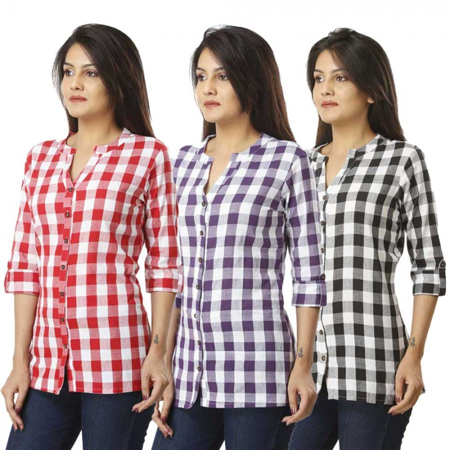 ASMANII COMBO PACK OF 3 PINK PURPLE & BLACK COTTON CHECK SHIRTS JAIPUR