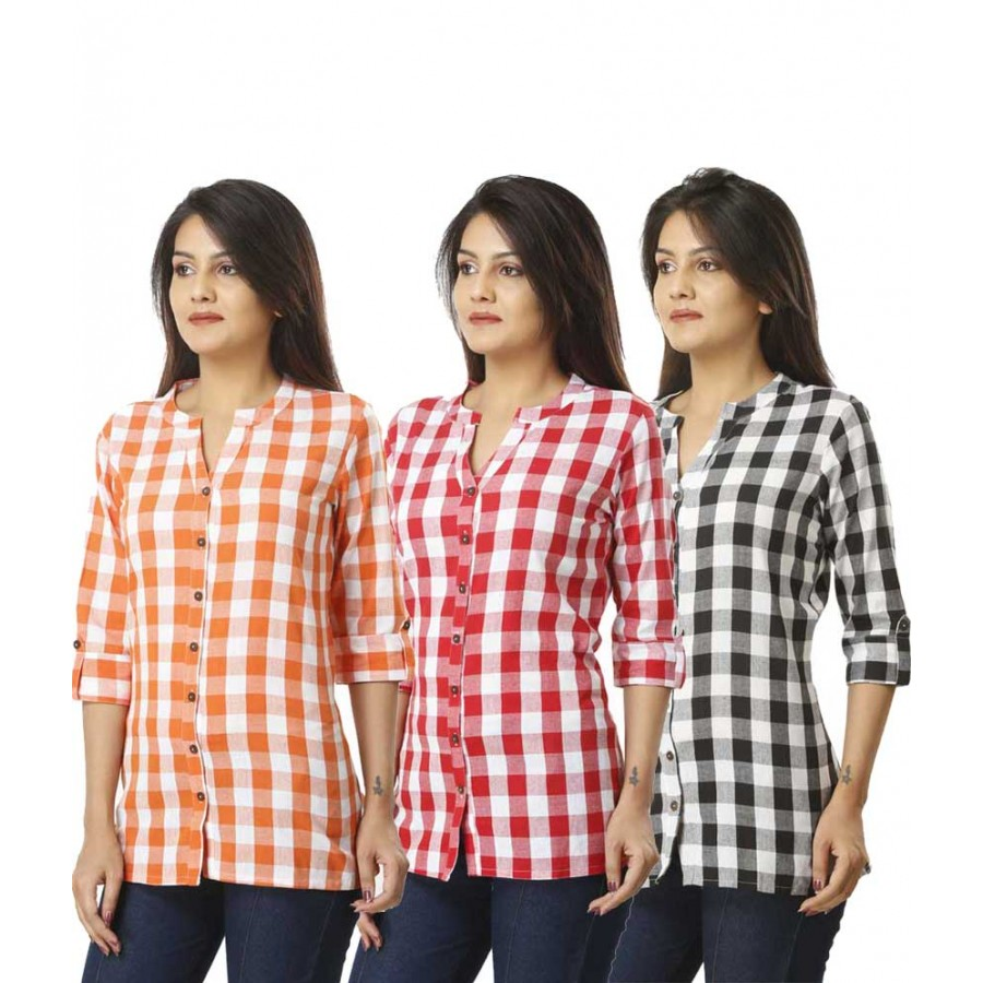 ASMANII COMBO PACK OF 3  ORANGE PINK & BLACK COTTON CHECK SHIRTS JAIPUR