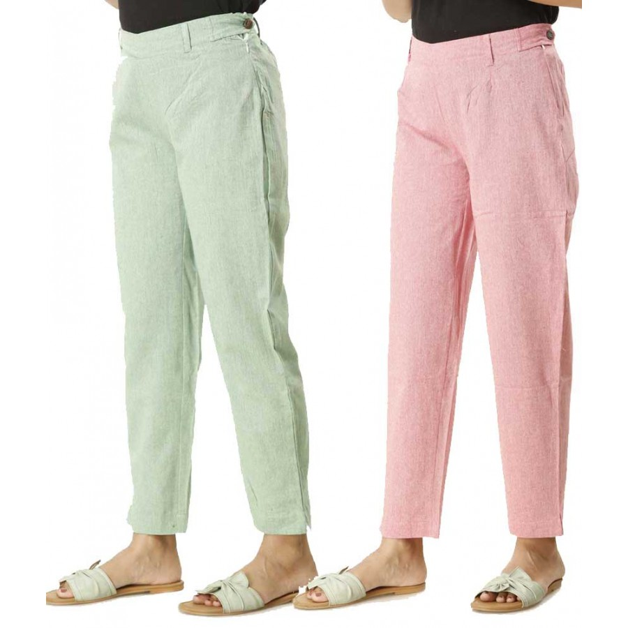 ASMANII COMBO PACK OF 2 GREEN & PINK COTTON PANTS JAIPUR