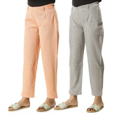 ASMANII COMBO PACK OF 2 GREY & ORANGE COTTON PANTS JAIPUR