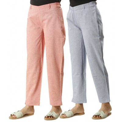 ASMANII COMBO PACK OF 2 BLUE & PINK COTTON PANTS  JAIPUR