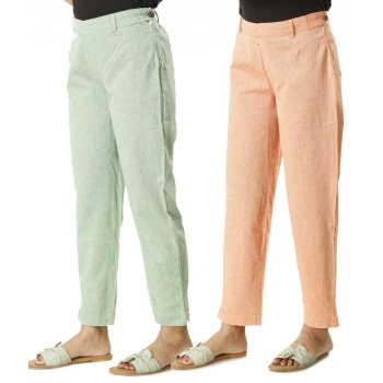 ASMANII COMBO PACK OF 2 GREEN & ORANGE COTTON PANTS  JAIPUR