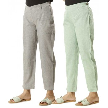 ASMANII COMBO PACK OF 2  GREY & GREEN COTTON PANTS JAIPUR