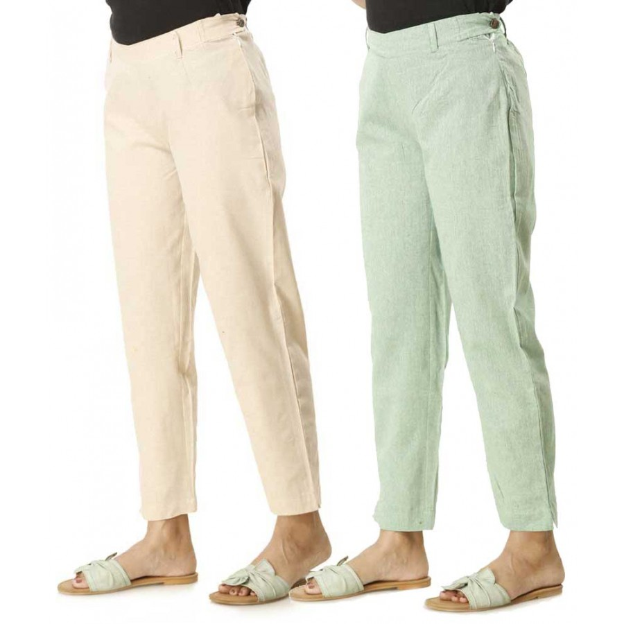 ASMANII COMBO PACK OF 2 WHITE  &  GREEN COTTON PANTS JAIPUR