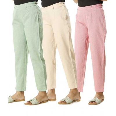 COMBO  PACK OF 3 GREEN WHITE &  PINK COTTON PANTS