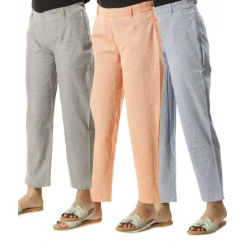 COMBO PACK OF 3  GREY ORANGE & LIGHT BLUE COTTON PANTS