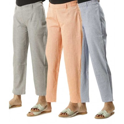 ASMANII COMBO PACK OF 3  GREY ORANGE & LIGHT BLUE COTTON PANTS JAIPUR