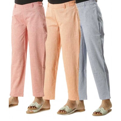 COMBO PACK OF 3 GREY PINK ORANGE COTTON PANTS