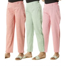ASMANII COMBO PACK OF 3 GREEN PINK & DARK PINK COTTON PANTS JAIPUR