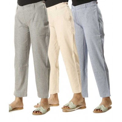 ASMANII COMBO PACK OF 3 BLUE GREY & WHITE COTTON PANTS JAIPUR