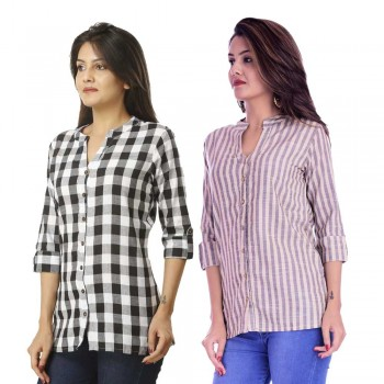 ASMANII COMBO PACK OF 2 BLACK CHECK & CREAM GREY STRIPED COTTON SHIRTS JAIPUR