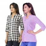 ASMANII COMBO PACK OF 2 BLACK CHECK & PINK BLUE STRIPED COTTON SHIRTS JAIPUR
