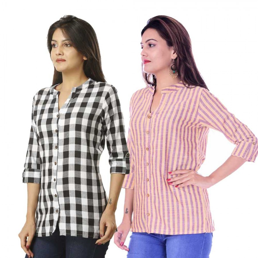 ASMANII COMBO PACK OF 2 BLACK CHECK & YELLOW PURPLE STRIPED COTTON SHIRTS JAIPUR
