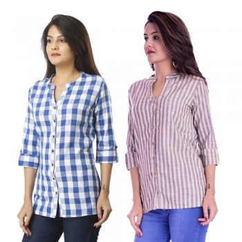 COMBO PACK OF 2 LIGHT BLUE CHECK & CREAM GREY STRIPED COTTON SHIRTS