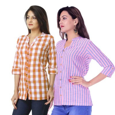 ASMANII COMBO PACK OF 2 BROWN CHECK & PINK BLUE STRIPED COTTON SHIRTS JAIPUR