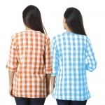 COMBO PACK OF 2 BROWN & SKY BLUE COTTON CHECK SHIRTS