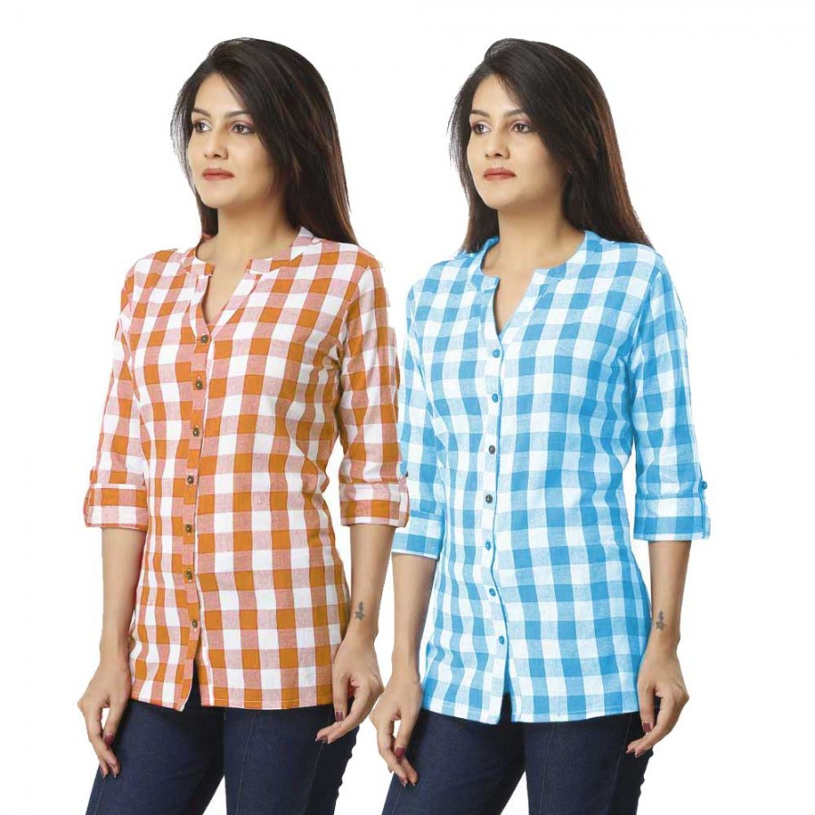 ASMANII COMBO PACK OF 2 BROWN & SKY BLUE COTTON CHECK SHIRTS JAIPUR