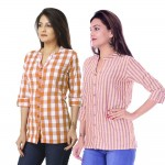ASMANII COMBO PACK OF 2 BROWN CHECK & YELLOW PURPLE STRIPED COTTON SHIRTS JAIPUR