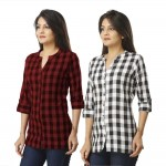 ASMANII COMBO PACK OF 2 DARK BROWN & BLACK COTTON CHECK SHIRTS JAIPUR