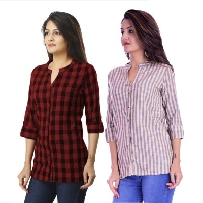ASMANII COMBO PACK OF 2 DARK BROWN CHECK & CREAM GREY STRIPED COTTON SHIRTS JAIPUR