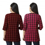 ASMANII COMBO PACK OF 2 DARK BROWN & DARK PINK COTTON CHECK SHIRTS JAIPUR