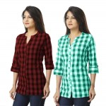 ASMANII COMBO PACK OF 2 DARK BROWN & GREEN COTTON CHECK SHIRTS JAIPUR