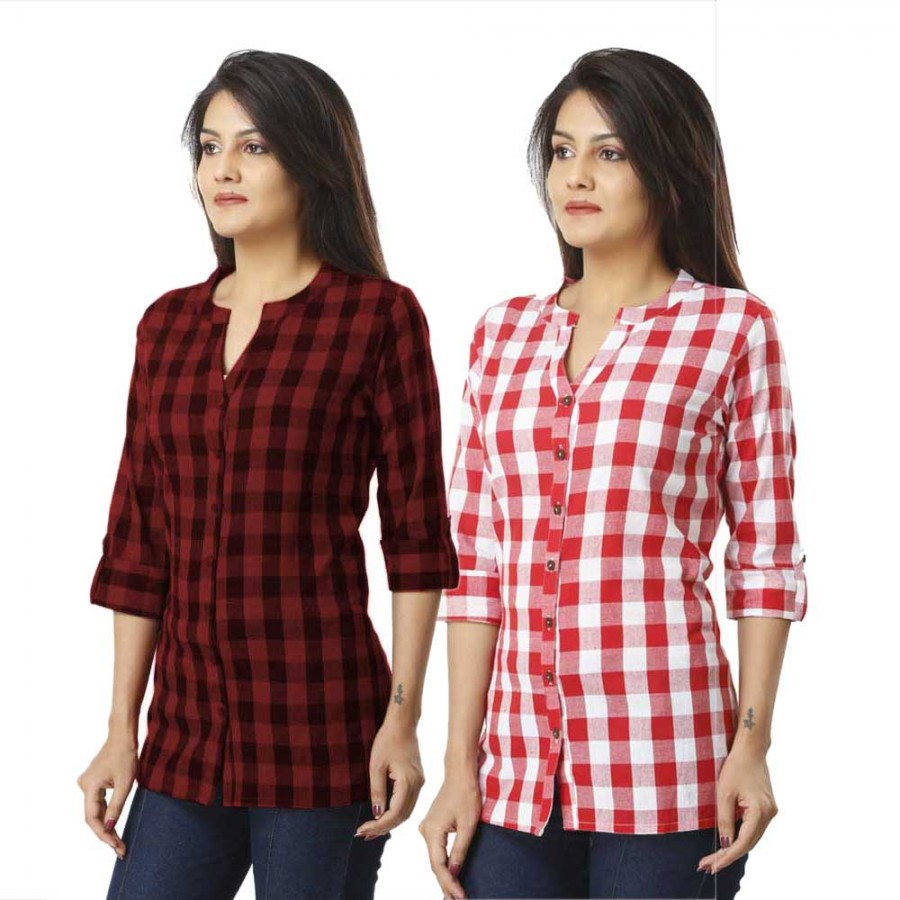 ASMANII COMBO PACK OF 2 DARK BROWN & PINKCOTTON CHECK SHIRTS JAIPUR