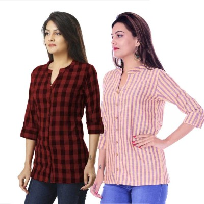 ASMANII COMBO PACK OF 2 DARK BROWN CHECK & YELLOW PURPLE STRIPED COTTON SHIRTS JAIPUR
